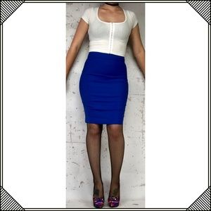 * Bebe Blue Pencil Skirt * Pinup Stretch Career *
